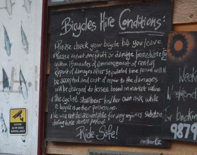 Pulau Ubin Bike Rental Rules