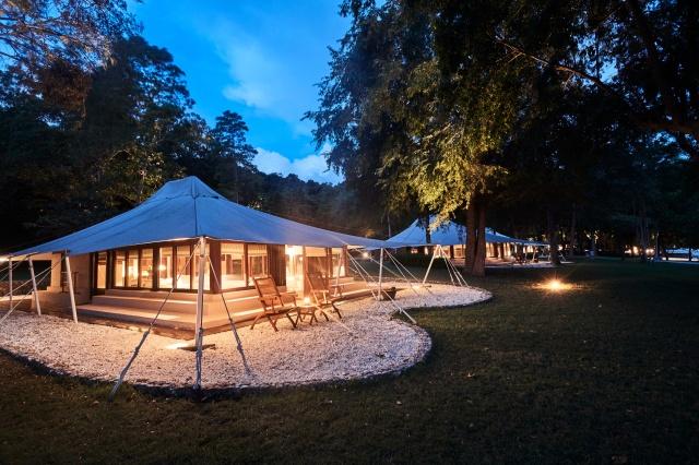 Dusk settles Amanwana Resort, Moyo Island (Image courtesy of Amanwana)