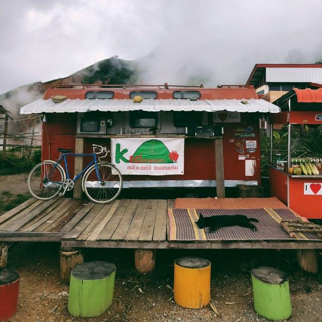 Food stop on the twisty roads between Luang Prabang and Vang Vieng, Laos